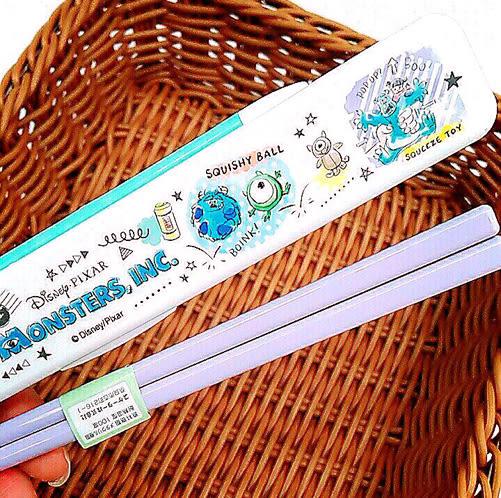 skater日本迪士尼毛怪大眼仔筷子附收納盒漫畫塗鴉397769通販屋