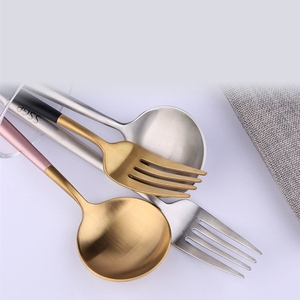 PUSH!餐具不鏽鋼黑金刀叉勺子4件套E109-1黑金色