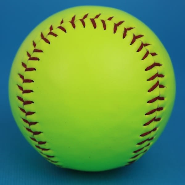 慢速壘球 PVC縫線大壘球(螢光綠)/一個入{定120} 大壘球~群DF-2120