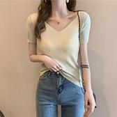 51夏季2021年新款韓版V領針織t恤衫女短袖百搭修身顯瘦時尚