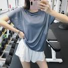 運動上衣 網眼運動罩衫女速乾健身短袖T恤跑步上衣寬鬆瑜伽服夏薄款-Ballet朵朵