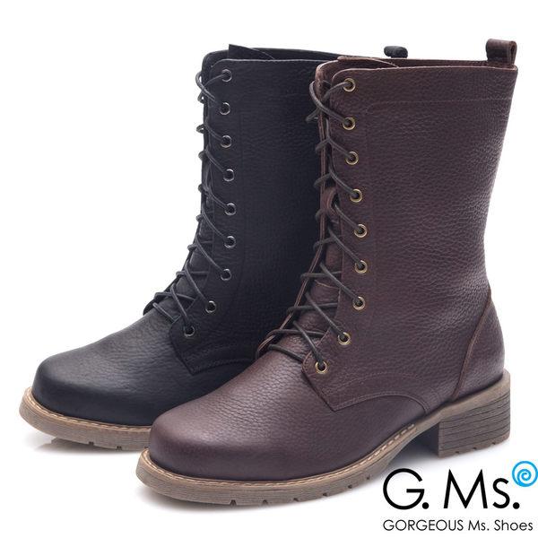 G.Ms. *牛皮經典綁帶中筒馬汀靴*深咖