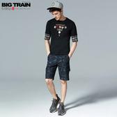BIG TRAIN  吸濕快乾黑灰花草短褲-男B50197