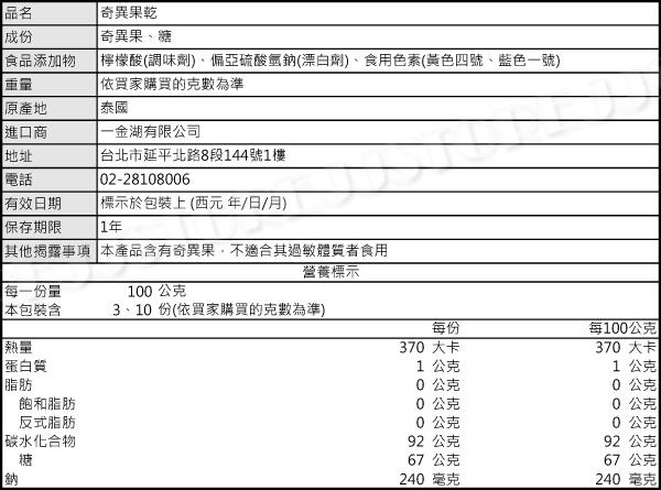 【吉嘉食品】奇異果乾 300公克,產地泰國 {M2011}[#300]