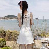 無袖洋裝 時尚小清新純白色后背綁帶牛仔背心裙女毛邊無袖連身裙潮 傾城小鋪