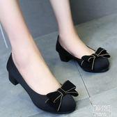 新款工作鞋女鞋蝴蝶結中跟粗跟套腳上班鞋布鞋女單鞋 JY8350【pink中大尺碼】
