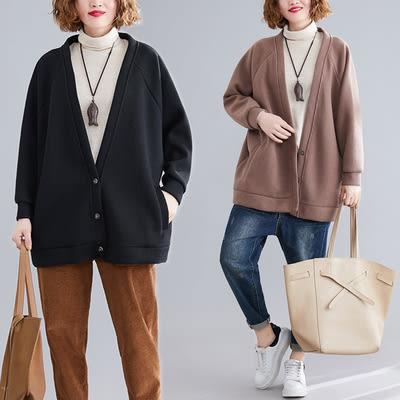 大碼外套 衛衣開始外套 V領外套 1864大碼胖妹妹洋氣減齡純色條紋呢開衫外套N710日韓屋