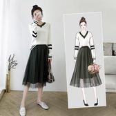 全館83折 連身裙法國小眾秋冬裝新款氣質長裙網紅兩件套毛衣配大衣的裙子女