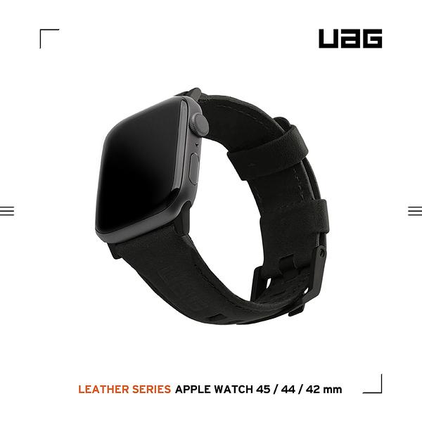 UAG Apple Watch 42/44/45mm 皮革錶帶-黑