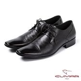 CUMAR男鞋 拼接滑面經典皮鞋-黑