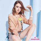 【SHOWCASE】率性笑臉圖標運動風短版夾克外套(卡其色)