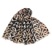 BURBERRY TB印花輕質格紋羊毛真絲披肩圍巾(典藏米色)089545