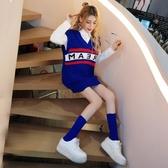秋季韓版學生POLO領長袖襯衫字母拼色V領毛衣馬甲襪子女三件套 韓國時尚週