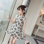 女童旗袍 新款兒童網紗旗袍唐裝女童花朵復古收腰洋裝LJ8867『小美日記』