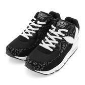 PLAYBOY 率性玩酷 豹紋撞色氣墊運動鞋-黑白