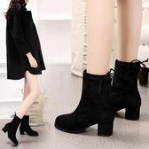 高跟短靴女馬丁靴粗跟短筒女鞋瘦瘦靴絨面圓頭女靴子 免運