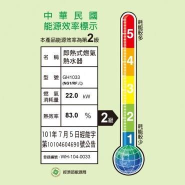櫻花 屋外型熱水器 OFC 10L GH1033 NG1/RF式 天然