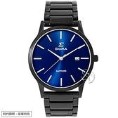 【台南 時代鐘錶 SIGMA】簡約時尚 藍寶石鏡面 日期顯示 鋼錶帶男錶 1737MLB3 藍/黑 41mm