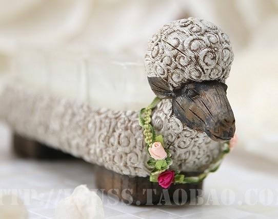 【協貿國際】田園風花環小羊小豬奶牛動物燭台-羊