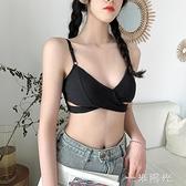 文胸女夏季薄款學生無鋼圈內衣法式美背性感交叉三角杯少女小胸罩 一米陽光
