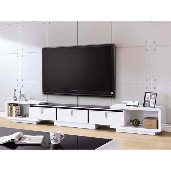 【森可家居】維基8.3尺伸縮長櫃 7HY355-1 黑白 電視櫃