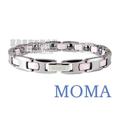【MOMA】鎢鋼鍺磁手鍊粉色窄版-M88L
