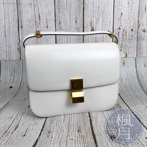 BRAND楓月 CELINE CLASSIC BOX 白色 亮面牛皮 側背包