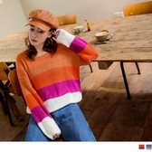 《FA2146》圓領身縮下襬彩色針織長袖毛衣 OrangeBear