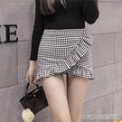 超短裙春夏新款黑白格子不規則荷葉邊包臀超短半身小裙褲修身女褲子 大宅女韓國館