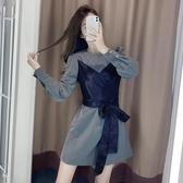 秋裝2020年新款女法式高端名媛氣質女神范設計感小眾長袖連衣裙子