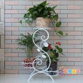 花架 歐式鐵藝花架 客廳實木落地花架陽台綠蘿多層盆景花盆架T 3色
