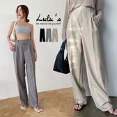 LULUS【A04210117】E壓摺後鬆緊西裝寬褲3色