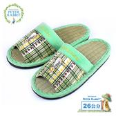 【クロワッサン科羅沙】Peter Rabbit TP雙心格素邊草蓆室內拖鞋 (綠26CM)
