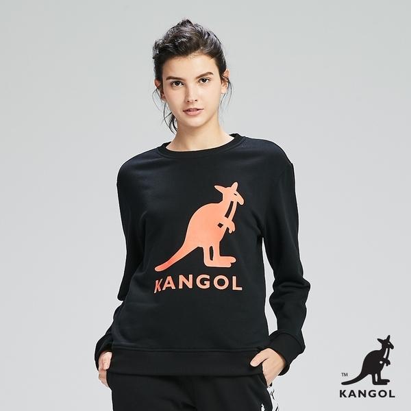 [限時好康組合] KANGOL-大LOGO設計圓領上衣/大學T-男女款五色任選加贈造型收納袋