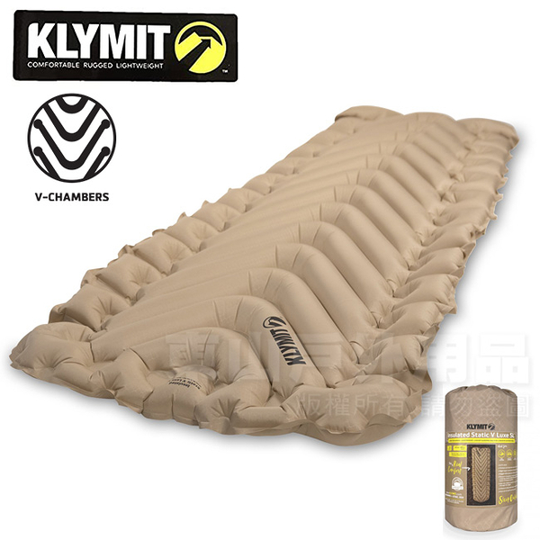 KLYMIT 06ISCY01D Insulated Static V Luxe SL 超輕量吹氣式空氣睡墊/厚8.9cm/登山露營床墊/單車環島/自助旅行