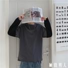INS港風假兩件t恤 男早秋休閒純棉拼色學生寬鬆慵懶風潮流百搭上衣 【極致男人】
