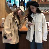 短款外套-新款春裝韓版寬鬆開衫短款風衣港風工裝休閒夾克外套女學生潮 花間公主