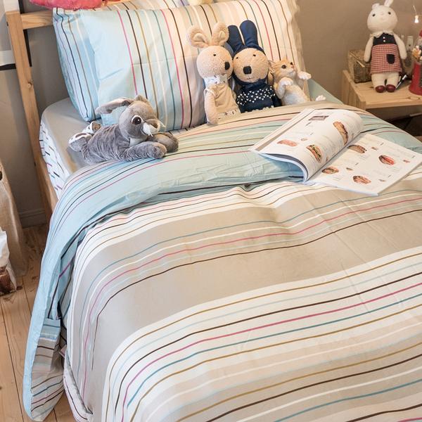 文青藍線條  D2雙人床包薄被套四件組  精梳棉  台灣製