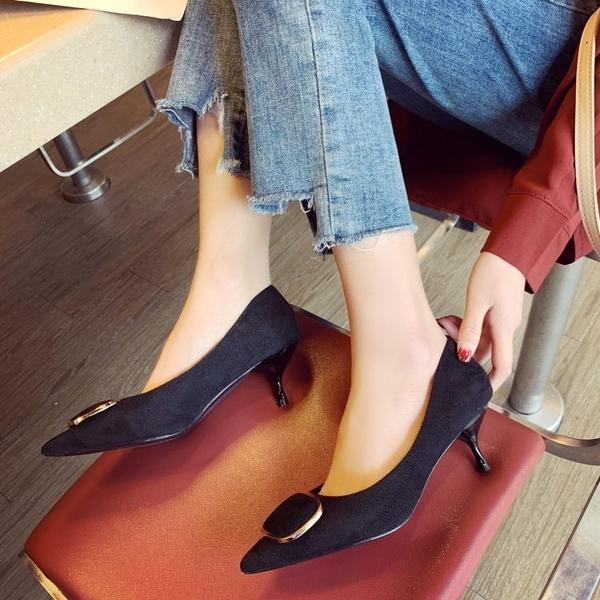 2019春季新款少女高跟鞋細跟女鞋尖頭紅色百搭禮儀職業單鞋女婚鞋  依夏嚴選