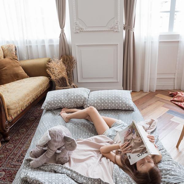 海棠花  雙人薄被套乙件 四季磨毛布 北歐風 台灣製造 棉床本舖