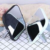 店長推薦 單面臺式化妝鏡梳妝鏡子隨身美容鏡折疊方鏡簡約便攜高清化妝鏡