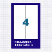 (5包)OGI A4標籤貼紙2欄2列/50張入 四邊直角 雷射.噴墨.點距陣各式列表機專用 標籤貼紙No.L22004