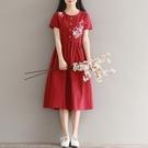 森女系洋裝 夏季新款森女繡花圓領短袖中長款繫帶棉麻連身裙-Ballet朵朵