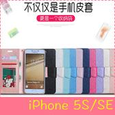 【萌萌噠】iPhone 5 / 5S / SE 時尚經典 蠶絲紋保護殼 全包軟邊側翻皮套 支架 插卡 磁扣 手機套