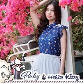 上衣 Hello Kitty x Ruby 聯名款.拼接印花無袖襯衫-Ruby s 露比午茶