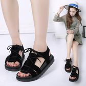 2018夏季新款平底低跟平跟松糕跟厚底羅馬鞋系帶女涼鞋學生鞋女鞋【黑色地帶】