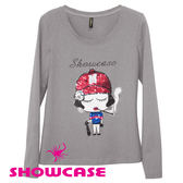 【SHOWCASE】個性亮片 紅帽女孩圖案長袖T恤(灰)