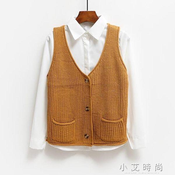 針織馬甲背心女寬鬆百搭無袖毛衣坎肩小外套學生短款開衫 小艾時尚