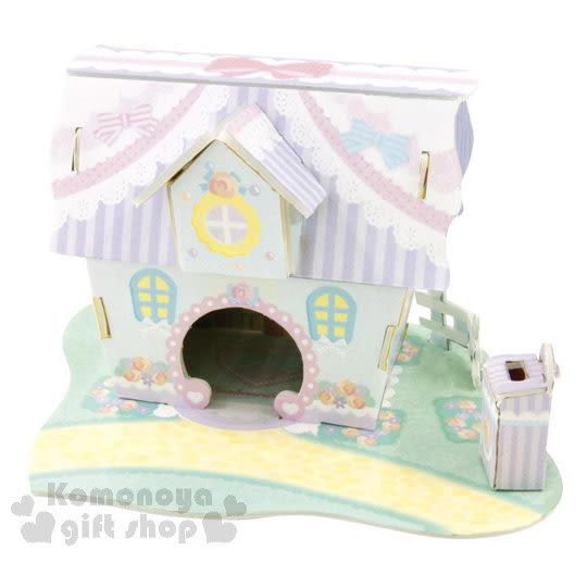 〔小禮堂嬰幼館〕蹦蹦兔 3D立體模型組合屋玩具《粉.緞帶玫瑰房屋》適合3歲以上孩童 4902923-14383