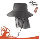 【Wildland 荒野 中性 抗UV可脫式功能遮陽帽《深卡灰》】W1037/休閒帽/圓盤帽/漁夫帽/防曬/護頸帽